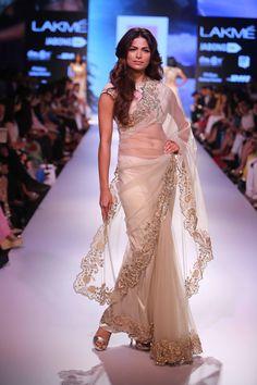 Anushree Reddy ivory net sari  Lakme Fashion Week Winter/Festive 2015