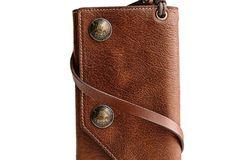 Handmade leather biker trucker wallet leather chain men Brown long wal | EverHandmade