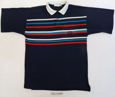 VINTAGE 80S GIVENCHY ACTIVEWEAR TENNIS POLO SHIRT OG STRIPED HIP HOP DESIGNER L #GIVENCHY #POLOSHIRT