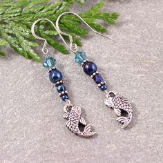 Koi Fish Charm Swarovski Blue Iris Bead Sterling Silver Earrings | SolanaKaiDesigns - Jewelry on ArtFire
