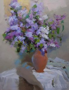 Lilac Canvas Art   Modern Painting Print  Floral Still by Pysar