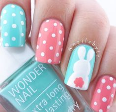 Adorable Easter Nail Art Designs You Must Try Easter nails; Egg And Bunny Nail Art Designs; Easter Nail Designs, Easter Nail Art, Nail Designs Spring, Short Nail Designs, Nail Art Designs, Nails Design, Nail Art Ideas, Wonder Nails, Bunny Nails