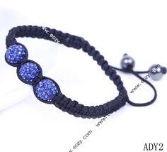 Blue Rhinestone Crystal Clay Disco Ball Beaded Charm Bracelet Adjustable