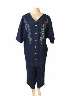 Vintage Roaman's Blue Denim Embroidered Short Sleeve Blouse and Pant Set Size 20 | eBay