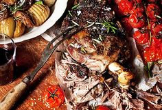 Real Living Easter recipe for Slow-roasted greek lamb with tomatoes, onions and hasselback potatoes Slow Cooked Meals, Slow Cooker Recipes, Slow Cooking, Greek Lamb Recipes, Slow Roast Lamb, Lamb Dinner, Greek Potatoes, Hasselback Potatoes, Fodmap Recipes