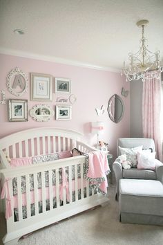 Baby Girl Nursery Ideas I love this room. Pink And Grey Nursery Baby Girl, Nursery Ideas Girl Grey Baby Bedroom, Nursery Room, Nursery Decor, Baby Bedding, Master Bedroom, Room Baby, Baby Girl Bedroom Ideas, Baby Girl Rooms, Baby Girl Room Decor