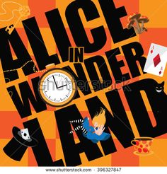 Alice in Wonderland Title with playing cards, pocket watch, hat, key,magic…
