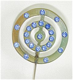 Celluloid Hat Pin w Blue Rhinestones (Bakelite & Other Plastic Jewelry