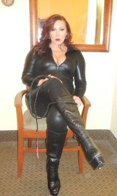 Mature leather mistress boots