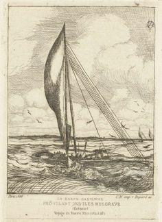 Charles Meryon | Zeilschip op Stille Oceaan bij Marshall eilanden, Charles Meryon, 1866 | Zeilschip (harpe oasienne) afkomstig van de Marshall eilanden in Stille Oceaan. Uit het onderschrift blijkt dat Meryon deze boot waarnam tijdens een reis op het schip Le Rhin (Navire Rhin) in de periode 1842-1846 toen hij langs de eilanden in de Stille Oceaan kwam.