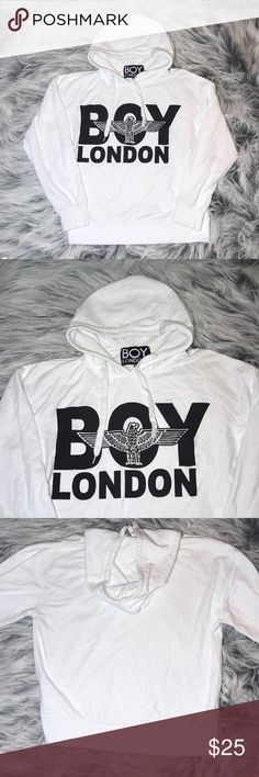 Vintage Boy London Hoodie White vintage Boy London Hoodie, soft and comfortable, with two light  marks as shown in last picture barely noticeable when wearing other than that no more flaws, selling as is and priced according to it Boy London Sweaters