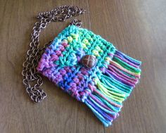 Hippie - Boho medicine pouch necklace 4 crystals, stash by homesteadhippie on Etsy