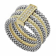 Lagos 18k Yellow Gold and Sterling Silver Diamond Stack #Ring from Borsheims.