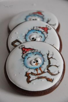 Cute Cookies for Winter-Cold little snow bird cookies