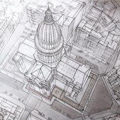 Increíble perspectiva desde arriba, dibujo arquitectónico