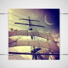 "Peter Pan Photography / nursery gift night sky twinkle stars boat moon magical ship sails /8x8 photograph print / ""Second Star to the Right""..."