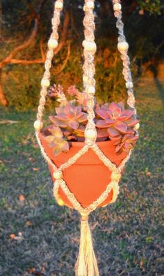 Unique Okra Macrame plant hanger    homemade cord by ChickenJungle, $37.00