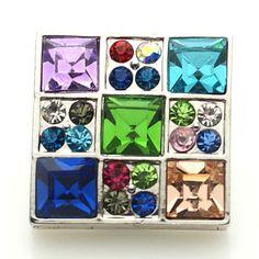 1 PC 18MM Rainbow Square Rhinestone Silver Snap Candy Charm kb8912 CC1603