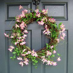 Pink Wild Flower Summer Wreath - XL Summer Wreath - Summer Door - Spring Door Wreath - Front Door Wreath - Includes FREE Wreath Hanger