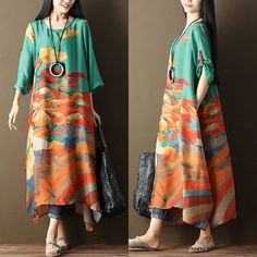 bd8c09f449e Women Printing Floral Casual Loose Green Dress