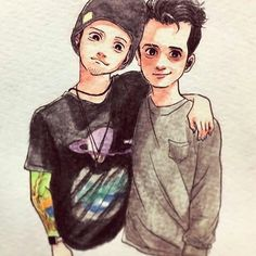 Josh Dun from Twenty One Pilots and Brendon Urie from Panic! At The Disco<< the forehead is perfect