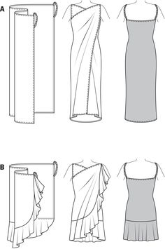 "B7207 Burda Style Beach Dress    Version A (long) needs 1.35m of 140cm fabric (jersey knit, lace, crepe fabrics recommended recommended) or 1 and 5/8 of 55"" wide fabric"
