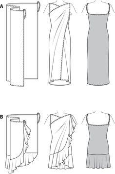 2 fáciles vestidos, para la playa o la piscina (punto jersey, encaje, crepe)