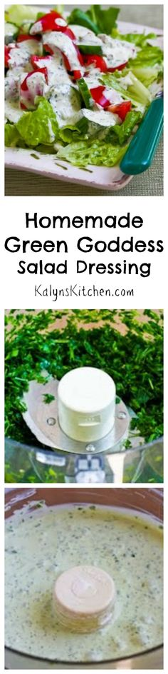 Healthy Homemade Green Goddess Salad Dressing makes a simple green salad such a treat, and you can make this dressing with some of the first herbs that appear in the garden. [from KalynsKitchen.com]