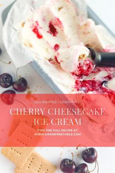 This homemade Cherry Cheesecake Ice Cream has all the flavors with its creamy ice cream, graham crackers, and a sweet and tangy cherry ribbon swirled throughout!  #icecream #homemade #glutenfree #dairyfree #frozen #dessert #cherry #cheesecake #cherrycheesecake #summer #kidfriendly Thanksgiving Desserts Easy, Easy Desserts, Delicious Desserts, Dessert Recipes, Sweet Desserts, Vegan Recipes Easy, Sweet Recipes, Real Food Recipes, Chocolate Sweets