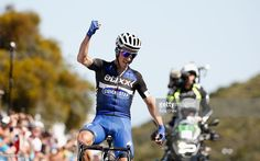 Julian Alphilippe of France riding for Etixx-Quick-Step celebrates as he crosses the finish line to win Stage 3 of the Amgen Tour of California on May 17, 2016 in Santa Barbara, California. #amgentoc #rm_112