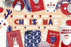 Christmas cards, elements & patterns by JuliyArt on @creativemarket