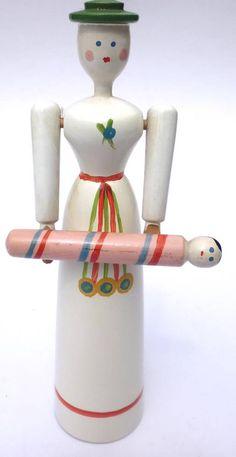 Erzgebirge Spielzeug Figur Klapperpuppe Docke Holz Puppe Mutter und Kind