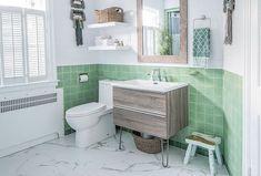 Dryden two-handle widespread bathroom faucet (photo credit: @ Modern Master Bathroom, Boho Bathroom, Bathroom Kids, Bathroom Interior, Small Bathroom, Bathroom Vintage, Bathroom Plants, Retro Bathrooms, Rustic Bathrooms