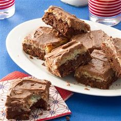 Double Chocolate Coconut Brownies Recipe -Thanks to a head start from a mix, it's easy to bake up these crowd-pleasing treats. It's hard to stop at just one brownie, but don't worry—my recipe makes 30 servings! —Brenda Melancon, McComb, Mississippi