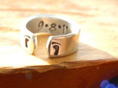 mom to be new born footprints aluminum cuff style ring 1/4 inch