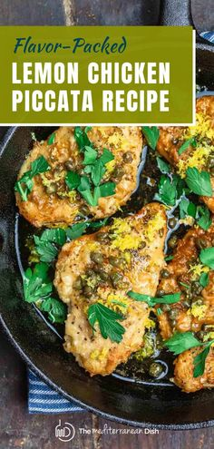 This delicious lemon chicken piccata recipe comes together in less than 20 minutes! A few tips make all the difference in this perfectly tender, flavor-packed chicken that's made in a bright lemony sauce with capers. Try this for an amazing weeknight meal with family! Chicken Lunch Recipes, Vegetarian Recipes Easy, Easy Dinner Recipes, Chicken Meals, Easy Recipes, Healthy Recipes, Easy Mediterranean Diet Recipes, Mediterranean Dishes, Lemon Chicken Piccata