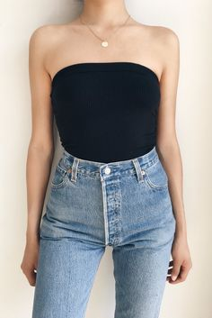 Sexy Tube Top Outfit Summer Casual Look. Tube top look, tube top pattern and tube outfits. Trending tube top outfit ideas for Women. Tube Top Outfits, Basic Outfits, Casual Summer Outfits, Trendy Outfits, Cute Outfits, Boho Fashion, Fashion Outfits, 2000s Fashion, Retro Fashion