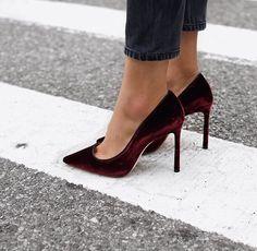 Velvet heels...