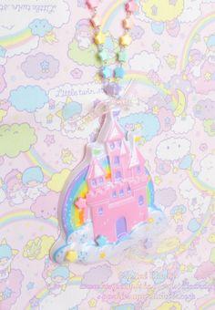 Pastel castle and rainbow charm