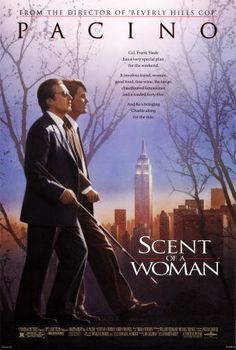 Scent of a Woman  - 1992 - tells the story of a preparatory school student who takes a job as an assistant to an irascible, blind, medically retired Army officer. It stars Al Pacino, Chris O'Donnell, James Rebhorn, Philip Seymour Hoffman, and Gabrielle Anwar