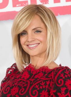 get a haircut on pintrest | Mena Suvari's Medium Edgy Straight Hairstyle with Bangs is a great ...