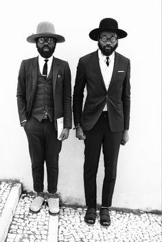 Sam Lambert & Shaka Maidoh. Men. Fashion. Black & White. Lovely. Suits. Hats. Style. True Inspiration. City. artcomesfirst.
