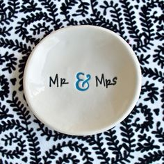 12.00 Etsy Mr and Mrs Ring Bowl Ceramic Wedding Ring Dish by SayYourPiece