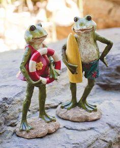 Swimming Surfing Boy & Girl Frogs Statuaries Yard Garden Art