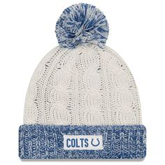 d101cbd9ed2 Indianapolis Colts New Era Women s Rugged Tag Cuffed Knit Hat with Pom -  Cream