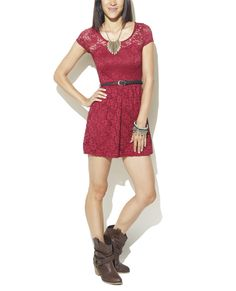 Crochet Lace Belted Dress from Wet Seal- sooo cute!