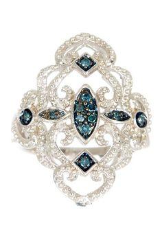 Savvy Cie Blue & White Diamond Art Deco Ring - 0.20 ctw on HauteLook