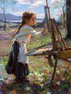 """""""Uncle Dan's Easel,"""" Daniel F. Gerhartz (1965, American), oil painting."""