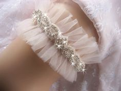 Tulle Bridal Garter Wedding Garter Set by nanarosedesigns on Etsy