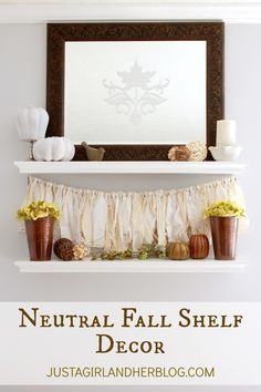 Love these neutral styled shelves for fall!   JustAGirlAndHerBlog.com